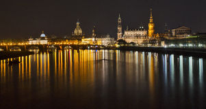 Dresden. Germany, April 2013 - View of the Dresden city, during the night, along the Elbe's river Stock Photography
