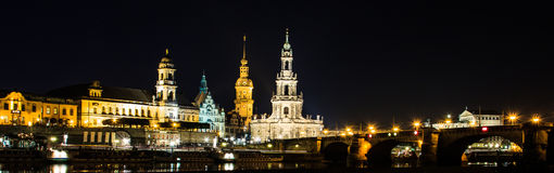 Dresden, Germany. Cathedral of the Holy Trinity or Hofkirche, Bruehl`s Terrace. On Elbe river stock photography