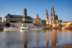 Dresden, Germany. Catholic church and saxon king castle on River Elbe, Dresden, Germany stock images