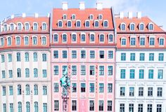 Dresden Germany colorful storefronts. As you wander the cobblestone streets of Dresden, Germany, you'll see a diverse blend of new and old—with stock photo