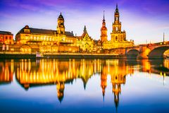 Dresden, Germany. Cathedral of the Holy Trinity or Hofkirche, Bruehl`s Terrace. Twilight sunset on Elbe river in Saxony stock photos