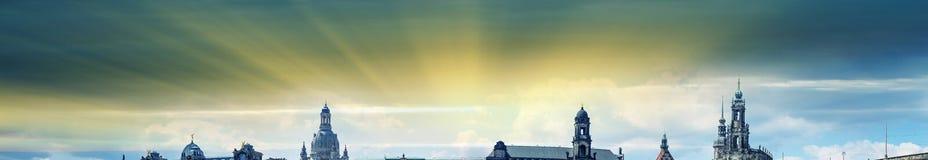 dresden germany Härlig panoramautsikt på solnedgången Fotografering för Bildbyråer