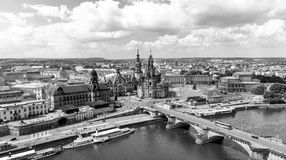 DRESDEN, GERMANY - JULY 16, 2016: Aerial view of Altstadt. Dresd Royalty Free Stock Images