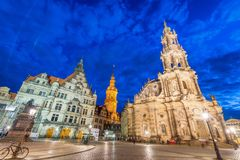 DRESDEN, GERMANY - JULY 15, 2016: Tourists along old city street. S at night. Dresden attracts 5 million tourists annually Royalty Free Stock Images