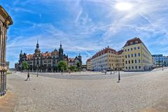 DRESDEN, GERMANY, JUNE 11 2017: A 180 degree view of Sophienstrasse next to Dresden Theaterplatz and Saxony Dresden. Castle Residenzschloss Stock Image