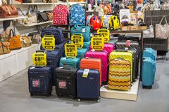 Different travel luggage and suitcase store. DRESDEN, GERMANY - JUNE 10, 2017: Different travel luggage and suitcase store. Abstract: Travel time Stock Photography
