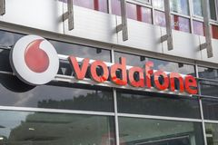Vodafone shop sign Royalty Free Stock Photography