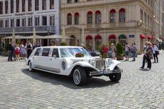 White wedding limousine Stock Photos