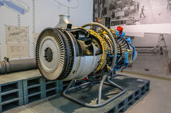 DRESDEN, GERMANY - MAI 2015: Airplane Jet Engine Turbine in Dres Stock Image