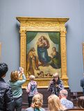 Sistine Madonna - painting by artist Raphael Santi at the Gallery of Old Masters in Dresden stock image