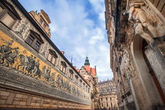 Dresden, Germany. Mosaic wall and saxon king castle, Dresden, Germany royalty free stock image