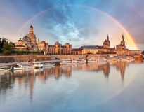Dresden, Germany old town skyline with rainbow.  royalty free stock image