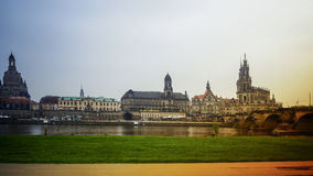 DRESDEN, GERMANY: Panorama of the Center of the Dresden Old Town. DRESDEN, GERMANY :Catholic Court ChurchKatholische Hofkirche.Center of the Dresden Old Town Royalty Free Stock Image