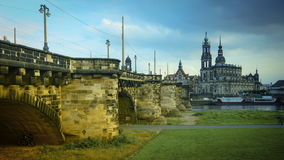 DRESDEN, GERMANY: Panorama of the Center of the Dresden Old Town. DRESDEN, GERMANY :Catholic Court ChurchKatholische Hofkirche.Center of the Dresden Old Town Royalty Free Stock Photos