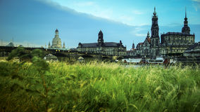 DRESDEN, GERMANY: Panorama of the Center of the Dresden Old Town. DRESDEN, GERMANY :Catholic Court ChurchKatholische Hofkirche.Center of the Dresden Old Town Stock Photos