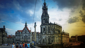 DRESDEN, GERMANY: Panorama of the Center of the Dresden Old Town. DRESDEN, GERMANY :Catholic Court ChurchKatholische Hofkirche.Center of the Dresden Old Town Stock Photo
