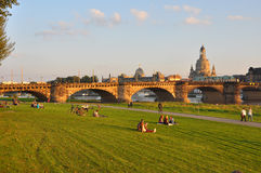 Dresden, Germany - Scenery with bridge and Frauenkirche Stock Image