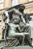 Dresden, Germany. The sculptural group on the background of the ancient architecture Stock Photo