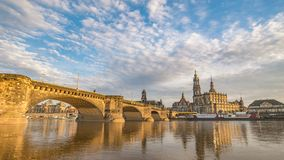 Dresden Germany Time lapse. Dresden city skyline timelapse at Elbe River with Dresden Cathedral and Augustus Bridge, Dresden, Germany 4K Time lapse stock footage