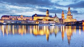 Dresden. Germany, during twilight blue hour with reflection of t Royalty Free Stock Photography