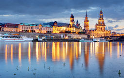 Dresden. Germany, during twilight blue hour with reflection of t Royalty Free Stock Photo