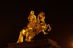 Dresden Golden Knight night Stock Photography