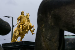 Dresden Golden Rider Outdoors Monument in Winter Overcast Weathe Stock Photography