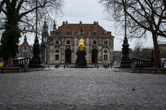 Dresden Golden Rider Outdoors Monument in Winter Overcast Weathe Royalty Free Stock Photos