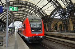 Dresden Hauptbahnhof - train platform Stock Photos