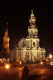 Dresden - Hofkirche nachts Lizenzfreie Stockfotografie