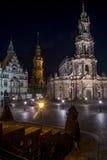 Dresden - Hofkirche at night. Hofkirche in Theaterplatz, Altstadt in Dresden. With the Frauenkirche destroyed this now the most impressive building in Altstadt Stock Photography