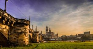 Dresden i aftonen Royaltyfria Bilder