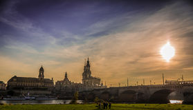 Dresden i aftonen Arkivfoto