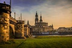 Dresden i aftonen Royaltyfri Fotografi