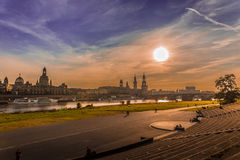 Dresden i aftonen Arkivbild