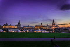 Dresden i aftonen Royaltyfri Bild