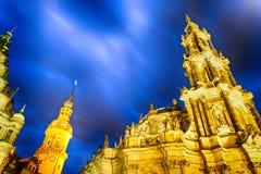 Dresden landmarks in Schlossplatz at night, Germany Royalty Free Stock Photos