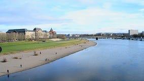Dresden landscape, Elbe river in sunny day, travel divrsity stock video