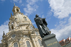Dresden, Martin Luther Statue. The statue of Martin Luther in front of the Frauenkirche in Dresden, Germany. The church was destroyed during the aerial bombing stock photo