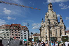 Dresden: may 2. 2017 - Dresden, Germany. Frauenkirche Church of Our lady. Medieval city, historical and cultural center of Free Stock Photography