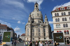 Dresden: may 2. 2017 - Dresden, Germany. Frauenkirche Church of Our lady. Medieval city, historical and cultural center of Free Stock Image