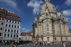 Dresden: may 2. 2017 - Dresden, Germany. Frauenkirche Church of Our lady. Medieval city, historical and cultural center of Free Stock Photos