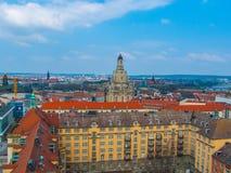 dresden Miasto krajobraz z kopułą Frauenkirche Obrazy Royalty Free