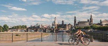 Dresden mit einem Fahrrad Lizenzfreies Stockbild