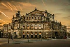 Dresden na noite Fotos de Stock