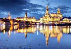 Dresden na noite, Alemanha Imagem de Stock Royalty Free