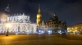 Dresden in nacht. Duitsland Royalty-vrije Stock Afbeeldingen