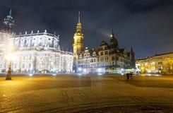 Dresden in nacht. Duitsland Royalty-vrije Stock Afbeelding