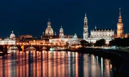 Dresden-Nachtansicht Lizenzfreie Stockfotografie