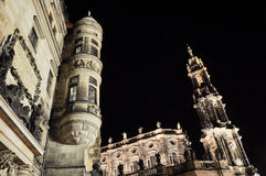 Dresden nachts, Deutschland Stockfotos
